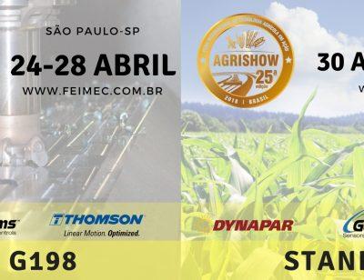 Dynapar, Gems e Thomson estarão nas edições 2018 da FEIMEC e Agrishow